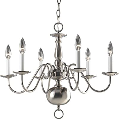 Progress Lighting P4356-09 6-Light Americana Chandelier with Delicate Arms and Decorative Center Column and Candelabra Lamps, Brushed Nickel by Progress Lighting