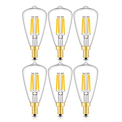 CRLight 4W Candelabra LED Edison Bulb 45W Equivalent 2700K Warm White 450LM Dimmable, E12 Base Antique ST48 / ST14 Clear Glass LED Filament Light Bulbs, Pack of 6