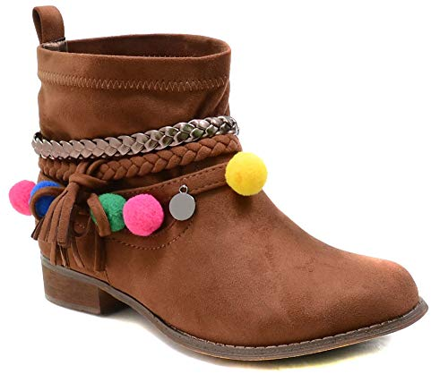 Women's Tan Braided Colorful Pom Pom Charm Vegan Booties (6.5)