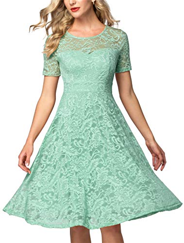 AONOUR AR8006 Women's Vintage Floral Lace Elegant Cocktail Formal Swing Dress with Short Sleeve Mint S