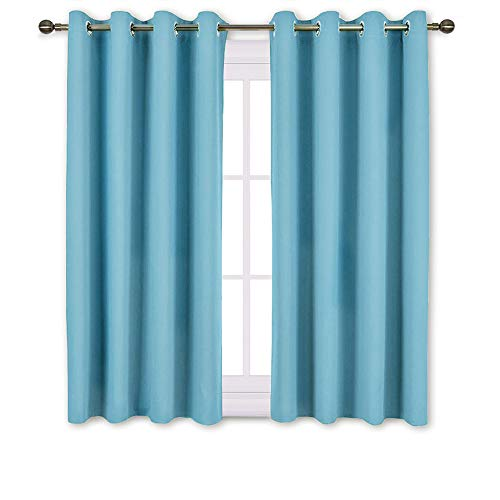 (NICETOWN Blackout Curtains Panels for Window - Thermal Insulated Solid Grommet Blackout Panels/Drapes for Bedroom (Teal Blue=Light Blue, Set of 2 Panels, 52 by 45 Inch))