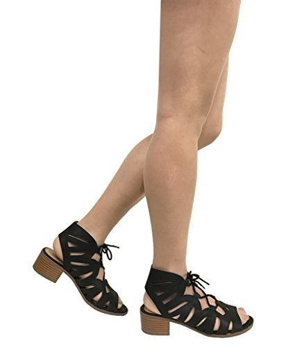 City Dalles Lace Up Women's Black Mid Cutout Classified Block Gladiator Sandals Heel 77gnT5wqf