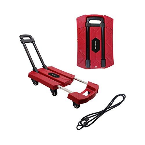 AODAILIHB Portable Folding Luggage Cart 360° Rotate Wheels Load 440 pounds (Red)