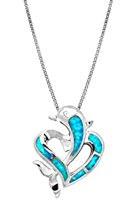 "Sterling Silver Dolphin Heart CZ Necklace Pendant with Synthetic Blue Opal and 18"" Box Chain"