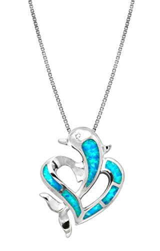 Sterling Silver Dolphin Heart CZ Necklace Pendant with Simulated Blue Opal and 18