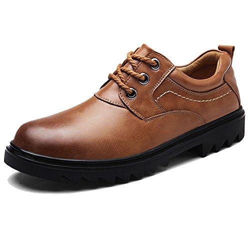 DHFUD Chaussures de Cuir de Mode pour Hommes en Cuir en Dentelle Formelle de Mariage Fête Printemps Été Automne Et Hiver Plat avec Marron Lightbrown FKEH0