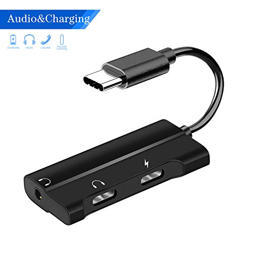 USB C to 3.5mm Audio Adapter, Mxcudu New 3 in 1 USB C to 3.5mm&USB C Headphone Jack Adapter and PD Charging Compatible with Samsung Galaxy Note 10/10+, Google Pixel 4/4XL/3/3XL/2/2XL and More(Black)
