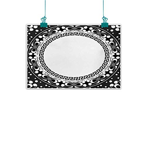 Modern Frameless Painting Greek Key Black and White Pattern of Spirals Swirls and Chains with Circle and Little Dots for Living Room Bedroom Hallway Office W28 xL20 Black White - Vase Greek Key