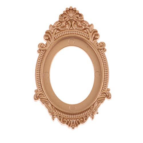 Agordo 1/12 Scale Dollhouse Miniature Decor European Vintage Golden Framed Mirror