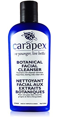 Carapex Botanical Facial Cleanser, for Sensitive, Dry, Oily, Combination, Aging or Acne Prone Skin, to Remove Makeup, Gentle Unscented Natural Formula, Paraben Free, with Aloe, Japanese Green Tea, 4oz