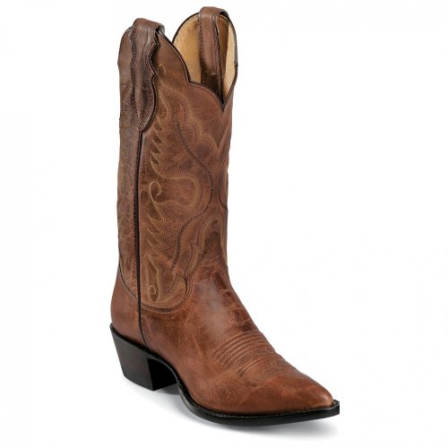 """Justin Boots Women's U.S.A. Domestic Western 12"""" Boot Narrow Round Toe Leather Outsole,Tan Distressed Vintage Goat,8 B US"""