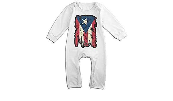 Mri-le1 Newborn Kids Organic Coverall Vintage Puerto Rico Flag-1 Baby Clothes