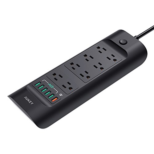 AUKEY PA-S13-Black PA-S13- Power Strip, 8 Outlets and 6-Port