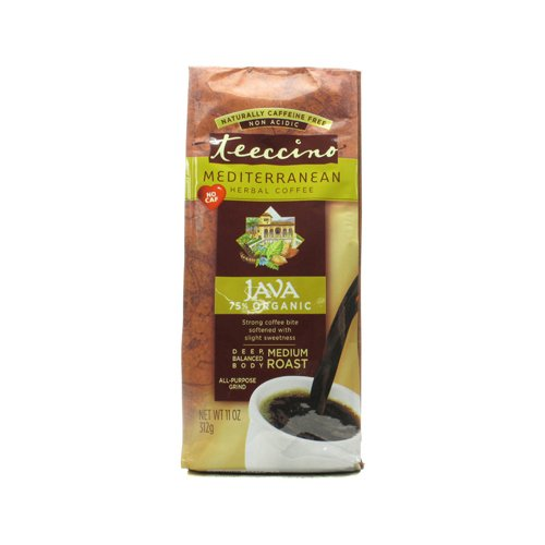 Java Herbal Coffee (Teeccino Mediterranean Herbal Coffee - Java - Medium Roast - Caffeine Free - 11 oz - 70%+ Organic - Gluten Free - Dairy Free - Yeast Free - Wheat Free - Vegan)