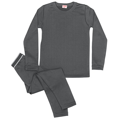 Rocky Boy's Fleece Lined Thermal Underwear 2PC Set Long John Top and Bottom (L, Charcoal) - Fleece Thermal Underwear