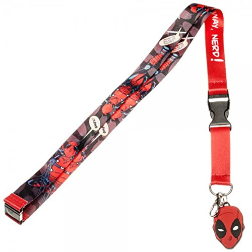 DEADPOOL Outta The Way Nerd! LANYARD ID Holder With Logo (Nerd Superhero Costume)