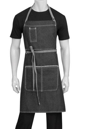 (Chef Works Unisex Bronx Bib Apron, Black, One Size)