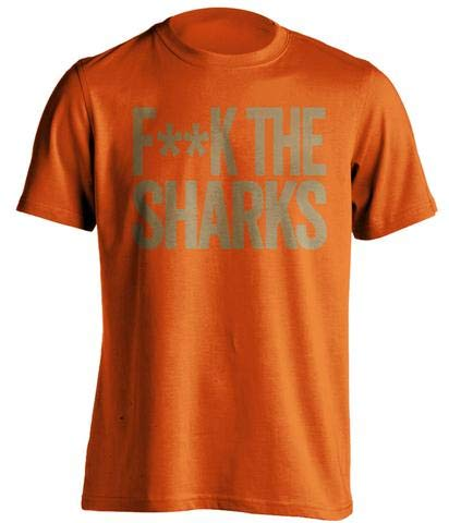 (Fuck The Sharks - Haters Gonna Hate Shirt Old Gold and Orange Versions - Text Design - Orange - Censored - Large)