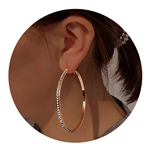 Large Gold Rhinestone Hoop - Large Hoop Earrings for Women - Big Hoop Earrings Gift for Women,idea Birthday Gift for Party,Daily, (Rose Gold Pave)