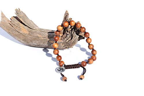 Adjustable Mala Beads Sandalwood Bracelet for Men - Natural Sandalwood Mens Bracelet - Handmade Beaded Bracelet for Men - Sandalwood Bracelet