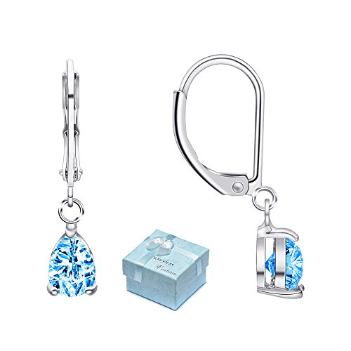 Buyless Fashion Hypoallergenic Surgical Steel Leverback Earring with Dangle Teardrop CZ Stud-EDGTRDAQU