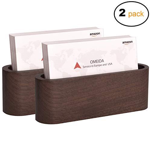 s Card Holder Card Display Walnut Wood Card Case for Desk Desktop Name Card Holder for Tables Organizer, Fits 50 Business Cards,2 Pack ()