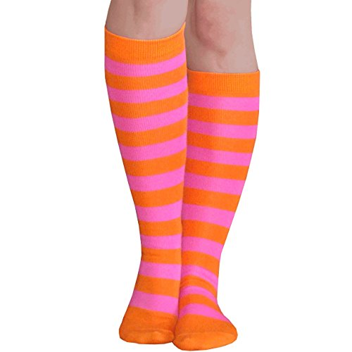 Chrissy's Socks Women's Striped Knee High Socks 7-11 Orange / Pink