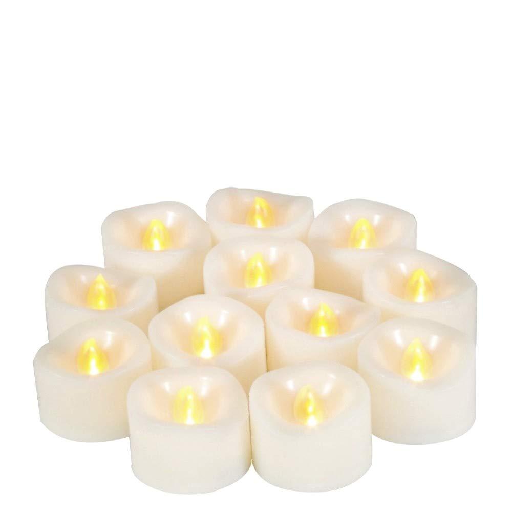 JZK 12 Parpadeo LED luz de vela luz de té sin llama con pilas para decoración de la mesa de boda día de San Valentín Víspera de Todos los Santos luz de Navidad