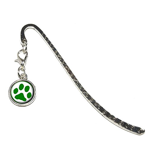 Graphics and More Paw Print - Green Metal Bookmark Page M...