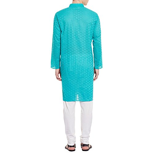 Mens Embroidered Cutwork Cotton Kurta With Churidar Pajama Trousers Machine Embroidery,Turquoise Chest Size: 34 Inch by ShalinIndia (Image #1)