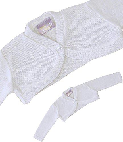 BabyPrem Baby Cardigan Jacket Acrylic Plain Bolero 0-23 mths WHITE (Baby Bolero)