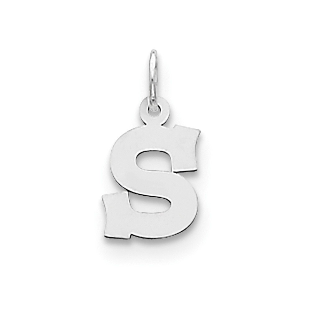 Solid 925 Sterling Silver Small Block Initial S Pendant Charm