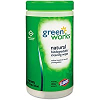 Green Works Natural Wipes, Plant Fiber, 7 x 7 1/2, White, 62/Canister