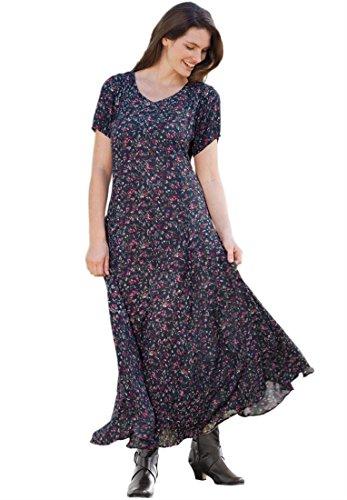 Women's Plus Size Short Sleeve Crinkle Dress (Royal Navy Print,2X)