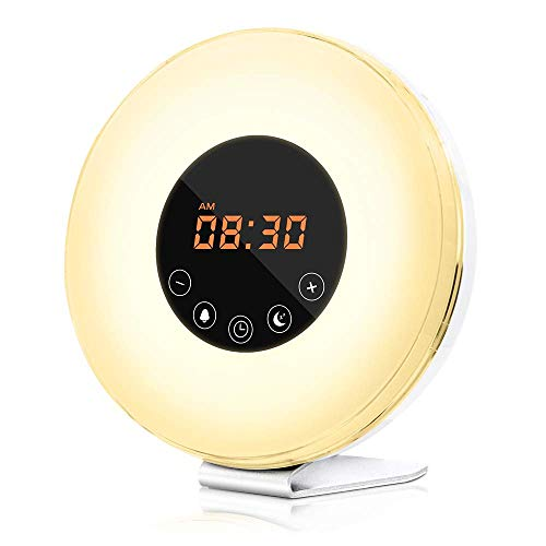 dostyle Wake Up Light Alarm Clock with Sunrise & Sunset Simulator, 6 Nature Sounds, 7 Colors Night Light, FM Radio, Touch Control - with Snooze Function for Heavy Sleepers - White (Best Alarm For Heavy Sleepers App)