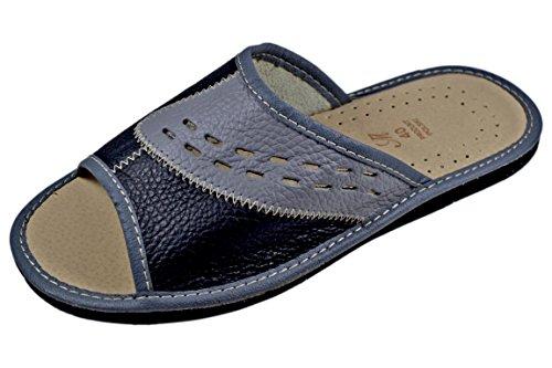 Reindeer Leather Men's Genuine Leather Open Toe Slides Sandals Indoor Slippers (12, (Reindeer Leather)