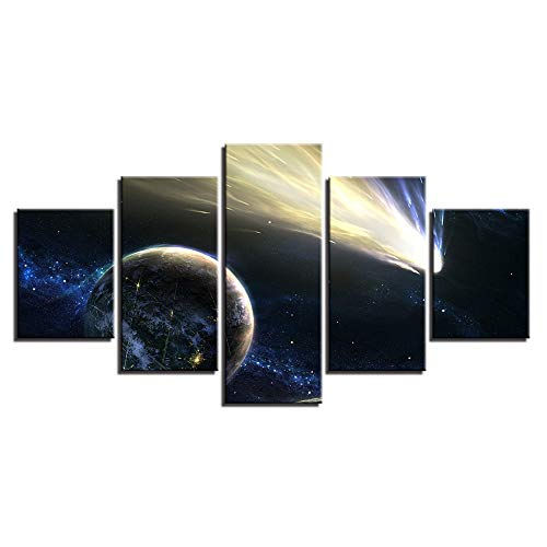 Whian 5 Pcs/Set Cartoon Anime Canvas Painting Mural Art Prints Posters Decor Bedroom Home Decorations Starry Sky ()