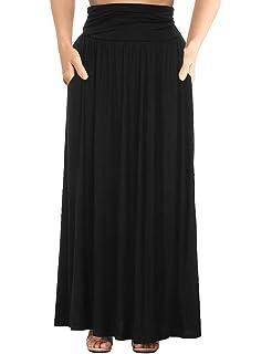 e934de0423cbe Allegrace Women s Plus Size Shirring High Waist Pleated Long Maxi Skirt  with Pockets