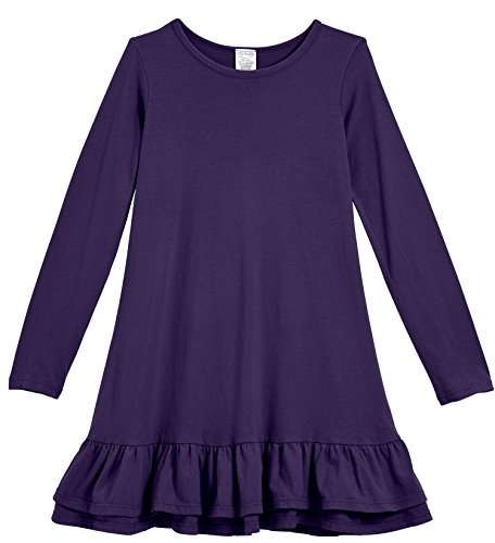 City Threads Little Girls' Cotton Jersey Long Sleeve A-Line Ruffle Hem Dress For School Play or Fun, Purple, 4T