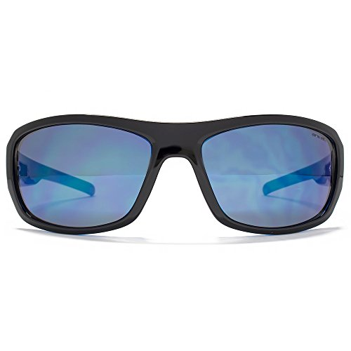 Animal Tailler grand Wrap lunettes de soleil en noir sur bleu ANI012 Blue Flash Mirror