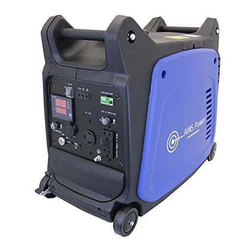 Aims Power Portable 3200 Watt Inverter Generator, 4 Stroke OHV 150cc 5500rpm Engine, 2800 Watt Rated Power, Recoil Starter, Electric Starter, Wheels with Brake System