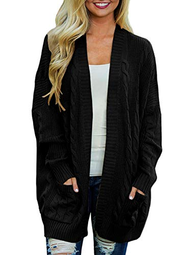 (Doballa Women's Open Front Chunky Cable Knit Twisted Cardigan Sweater Coat With Pocket (L, Black))
