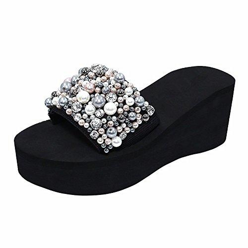 sandali sandali 39 Onorevoli pantofole outdoor comode nero moda mare antislittamento YMFIE 34 z0Tp6wq0