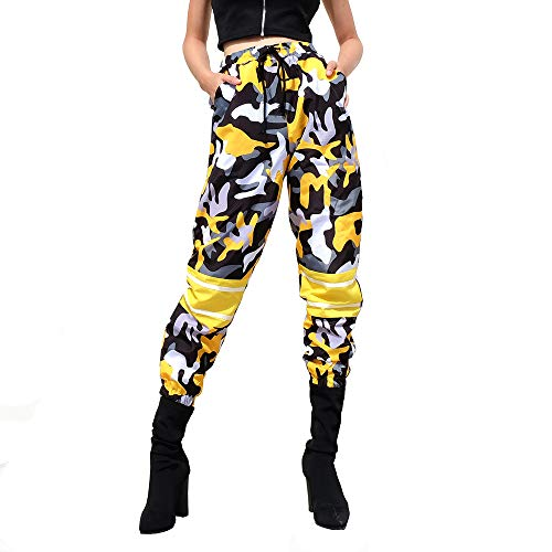 - Women Camo Pants Loose Streetwear Yellow Camouflage Pantalon Pencil Pants Hip Hop Joggers Trousers (L)