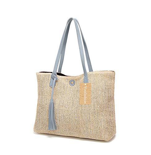 Yoofashion Straw Tote Bag for Women Shoulder Bag Summer Beach Bag Girls Fashion Top Handle Handbag Blue