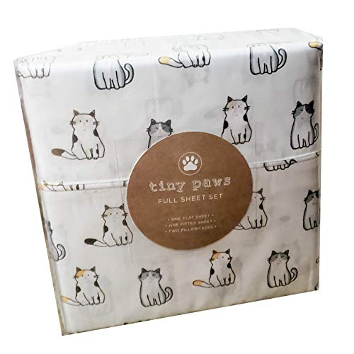 Tiny Paws Grey and Orange Kitty Cat Themed Cute Bed Sheets (Full)