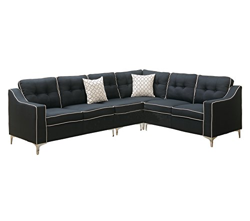 Poundex F6887 Bobkona Adalia Sectional Set, Black