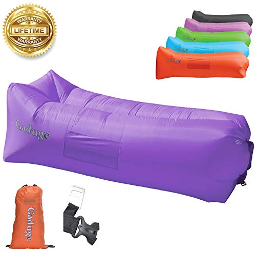 Giant Inflatable Lounger Chair by Gaduge - Hangout Sofa in 8 Fun Colors! Waterproof Inflatable Couch Bed for Indoor, Outdoor, Pool, Beach, Camping and More! (Purple)