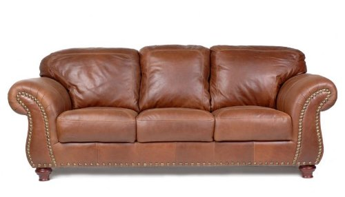 (Capri 100% Full Aniline Dyed Cognac Nail Head Brazilian Leather Sofa)