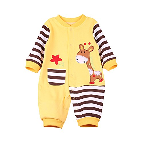 LSERVER Infant Baby Girls & Boys Long Sleeve Classic Romper Cotton Jumpsuit Legging Pajamas Stripe Yellow & Brown Giraffe S